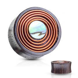 Piercing plug bois de sono cuivre et nacre