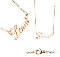 Chaine en acier inoxydable or rose avec pendentif LOVE