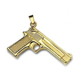 Pendentif en acier inoxydable pistolet doré