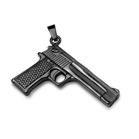 Pendentif en acier inoxydable pistolet noir