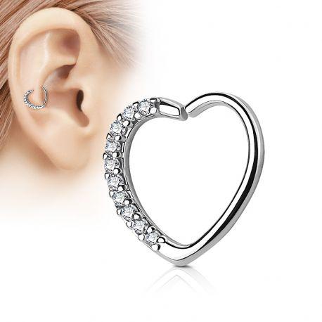 Piercing cartilage daith coeur strass argenté