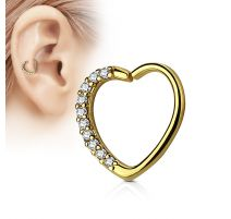 Piercing cartilage daith coeur strass plaqué or