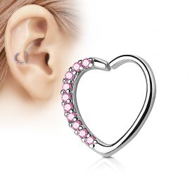 Piercing cartilage daith coeur strass roses