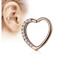 Piercing cartilage daith coeur strass plaqué or rose