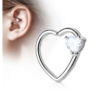 Piercing cartilage daith gemme coeur blanc