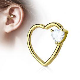 Piercing cartilage daith gemme coeur blanc plaqué or
