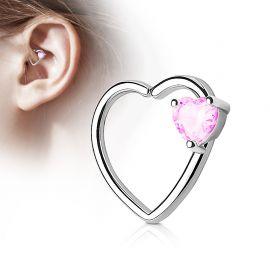 Piercing cartilage daith gemme coeur rose