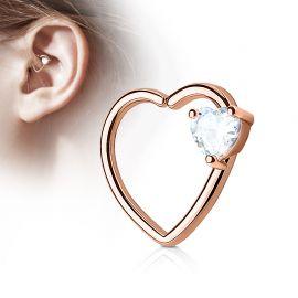 Piercing cartilage daith gemme coeur blanc plaqué or rose