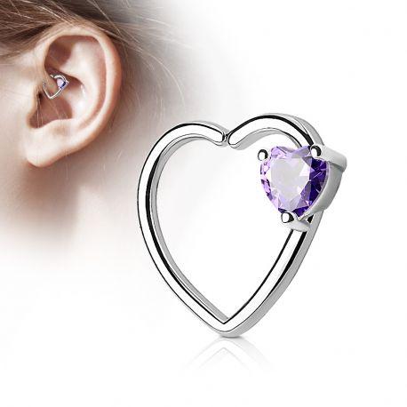 Piercing cartilage daith gemme coeur tanzanite