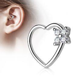 Piercing cartilage daith coeur quatre gemmes argenté