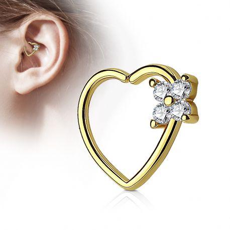 Piercing cartilage daith coeur quatre gemmes plaqué or
