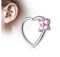 Piercing cartilage daith coeur quatre gemmes roses