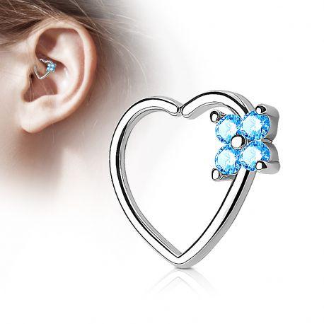 Piercing cartilage daith coeur quatre gemmes turquoise
