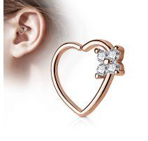 Piercing cartilage daith coeur quatre gemmes plaqué or rose
