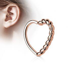 Piercing cartilage daith coeur tressé plaqué or rose