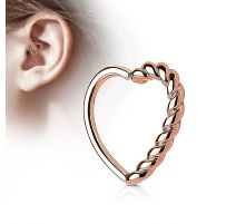 Piercing cartilage daith coeur tressé plaqué or rose