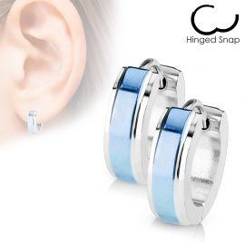 Paire Boucles d'oreille anneaux centre bleu