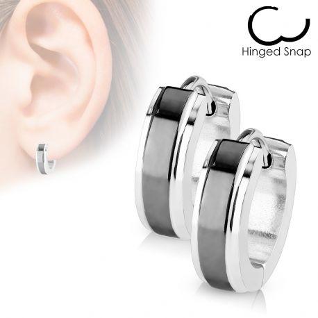 Paire Boucles d'oreille anneaux centre noir