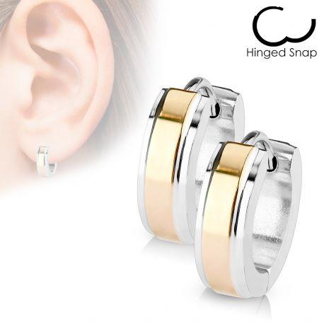 1469adc1ba8 Paire boucles d oreille homme anneaux bandeau central or rose