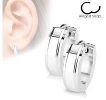 Paire Boucles d'oreille anneaux centre argenté