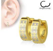 Paire Boucles d'oreille Anneaux acier doré Croix celtique