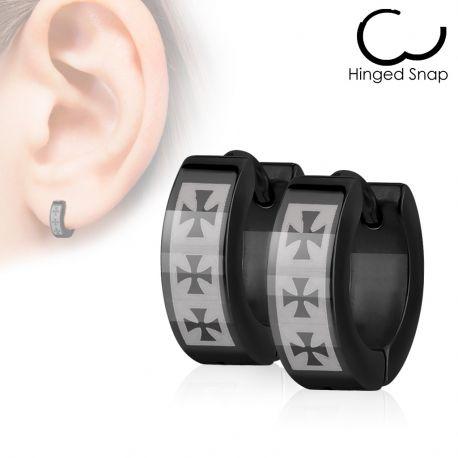 Paire Boucles d'oreille Anneaux Noir Croix celtique