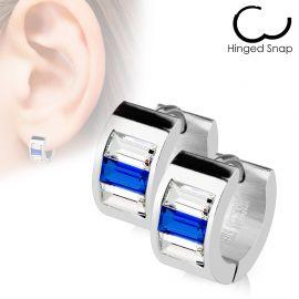 Paire Boucles d'oreille Anneaux Gemmes Blancs/Bleu