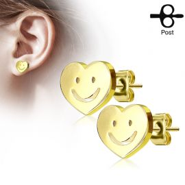 Paire boucles d'oreilles clous coeur smiley doré