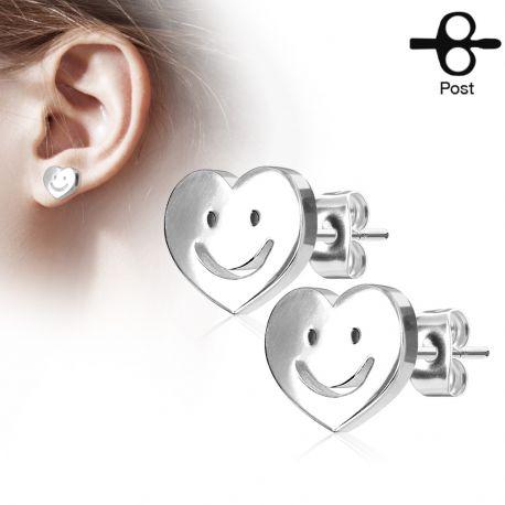 Paire boucles d'oreilles clous coeur smiley argenté