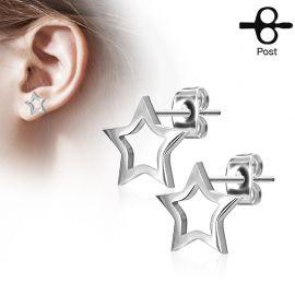 Paire boucles d'oreilles clous étoile silhouette argenté