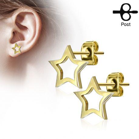 Paire boucles d'oreilles clous étoile silhouette doré