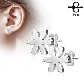 Paire boucles d'oreilles clous fleur argenté