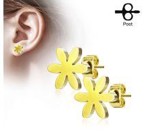 Paire boucles d'oreilles clous fleur doré