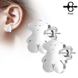 Paire boucles d'oreilles clous ourson argenté
