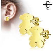 Paire boucles d'oreilles clous ourson doré