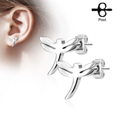 Paire boucles d'oreilles clous libellule argenté