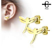 Paire boucles d'oreilles clous libellule doré