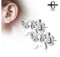Paire boucles d'oreilles clous papillon argenté