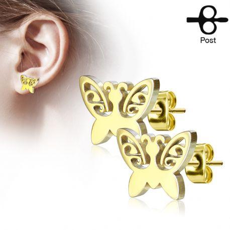 Paire boucles d'oreilles clous papillon doré
