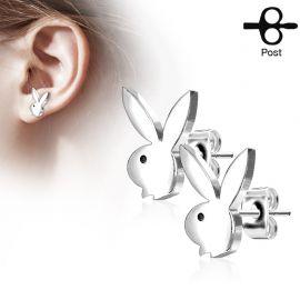 Paire boucles d'oreilles clous Playboy lapin argenté
