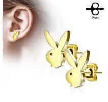 Paire boucles d'oreilles clous Playboy lapin doré