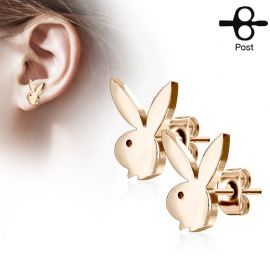 Paire boucles d'oreilles clous Playboy lapin or rose