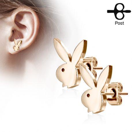 Paire boucles d'oreilles clous Playboy lapin or rose