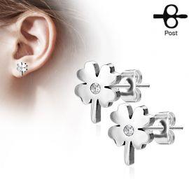 Paire boucles d'oreilles clous trèfle argenté