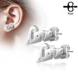 Paire boucles d'oreilles clous love argenté