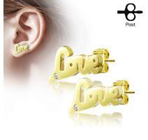 Paire boucles d'oreilles clous love doré