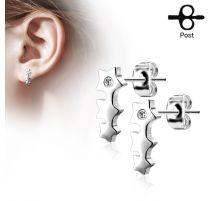 Paire boucles d'oreilles clous triple étoile argenté