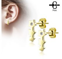 Paire boucles d'oreilles clous triple étoile doré