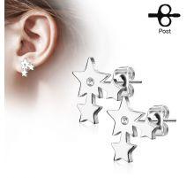 Paire boucles d'oreilles clous trois étoiles argenté