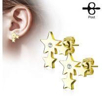 Paire boucles d'oreilles clous trois étoiles doré